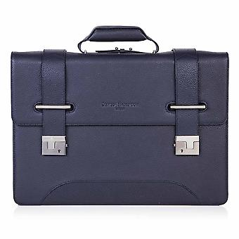 Indigo Blue Richmond Leather 2 Compartment Flapover Briefcase