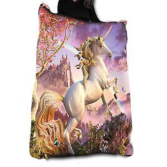 Wild star - awesome unicorn fleece blanket / throw / tapestry