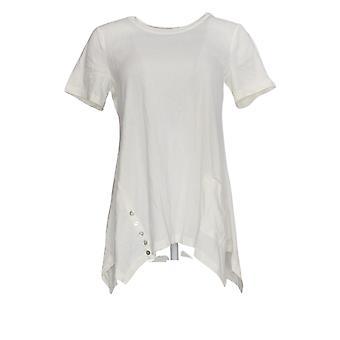 LOGO door Lori Goldstein Women's Top Knit w/ Button Detail White A301072