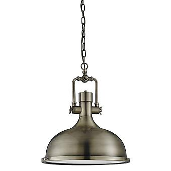 1 Light Dome Ceiling Pendant Antique Brass with Glass Diffuser, E27