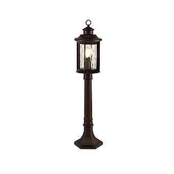 Luminosa-valaistus - Bollard Post -lamppu, 1 x E27, Antiikkipronssi, Kirkas rippilasi, IP54