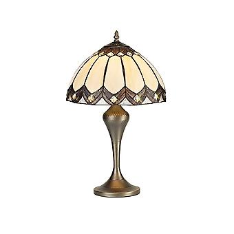 Tiffany Tafellamp, 1 x E27, Aged Antique Brass Base, Brown Glass, Clear Crystal