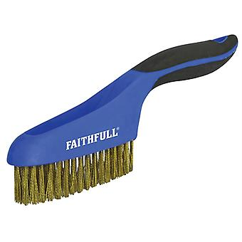 Faithfull Scratch Brush Soft Grip 4 x 16 Row Brass FAISB164SB