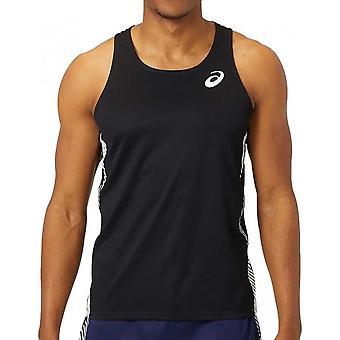 Asics Practice Mens Running Fitness Training Singlet Vest Tank Top Black