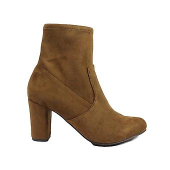 Caprice 25300 Cognac Tan Microfibre Suede Stretch Womens Heeled Ankle Boots