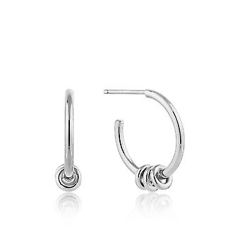 Ania Haie Sterling Silver Rhodium Plated Modern Hoop Earrings E002-05H