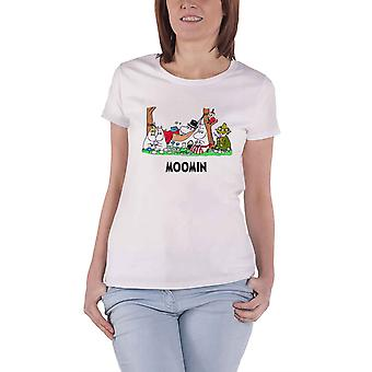 Moomins T Shirt Camping new Official Womens Skinny Fit White