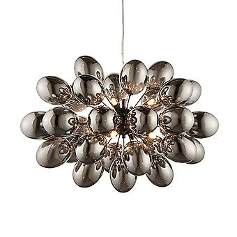 Pendentif Black Chrome Effect Plate & Smokey Mirror Effect Tinted Glass 8 Light Dimmable IP20 - G9