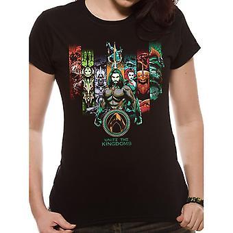 Aquaman Womens/Ladies Movie Unite The Kingdoms T-Shirt