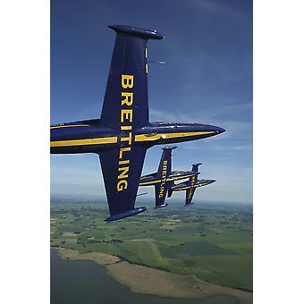 Såtenäs Sverige - flyga med Aero l-39 Albatros av Breitling Jet Team världar största civila jet laget affisch Skriv