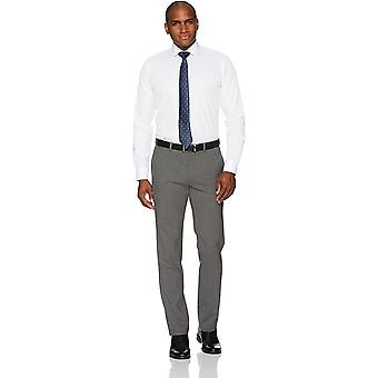 """Merk - Buttoned Down Men's Slim Fit Spread-Collar Pinpoint Non-Iron Dress Shirt, Wit, 14.5& Neck 33"""" Sleeve"""