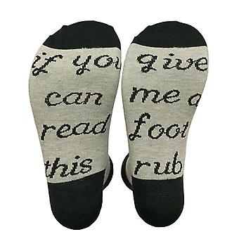"""Flo Slogan Socks """"If You Can Read This, Give Me A Foot Rub"""" - UK Size 4-7, Grey"""