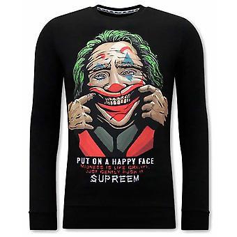 Joker Print Sweater - Black