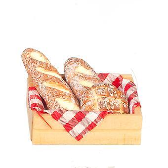Κούκλες σπίτι φρέσκο ψωμί σε κλουβί μινιατούρα κουζίνα αρτοποιοί κατάστημα 1:12 αξεσουάρ