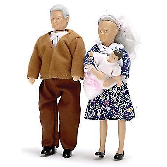 Puppen Haus Menschen Oma Opa & Baby Großeltern Miniatur Modern
