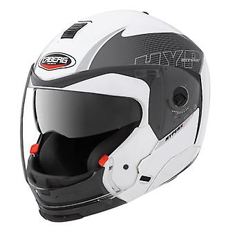Caberg Hyper X Mod Helmet White Anthracite Integrated Sun Visor ACU Approved XS
