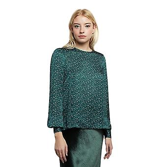 Louche Womens Lima Speckle Print Long Sleeve Blouse Green