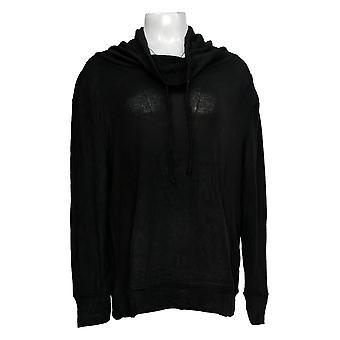 Anyone Women's Top Long Sleeve Cowl Neck Pullover Noir A310152