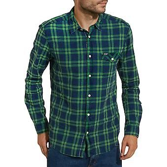 Verificación de aleta para hombre Wrangler Textured se descolora manga larga botón de la camisa - verde