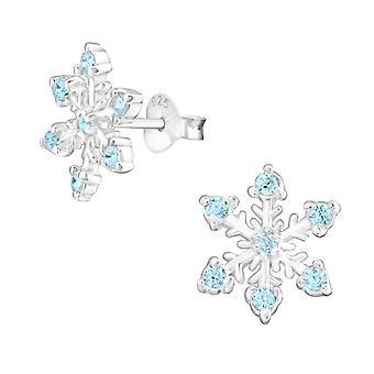 Snowflake - 925 Sterling Silver Cubic Zirconia Ear Studs - W16162x