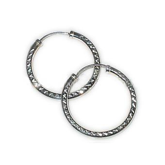 30mm Sterling Silver Diamond Cut Hoop Brincos .925 X 1 Par de Aros