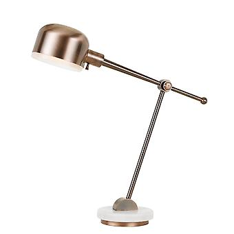 Lampe de bureau en métal contemporain de 60w avec l'ombre ronde et la base de marbre, cuivre
