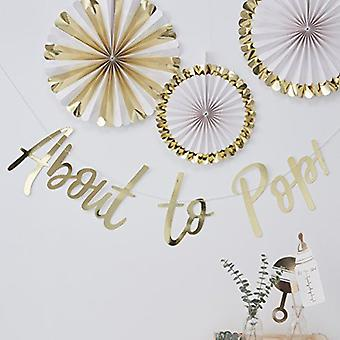 Gold Baby Shower Bunting | Oh Baby! About To Pop Hanging Decoration Unisex x5