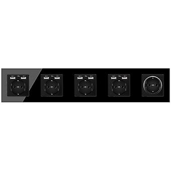 Eu Crystal Glass Panel Without Pin 5 Gang Power Socket 16a With 8 Usb