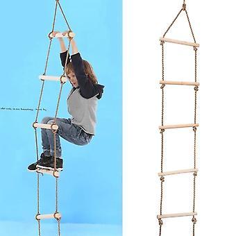 Kinder Indoor Outdoor Spielhaus Holz 300Kg 5 Sprossen Seil Kletterleiter Spielzeug