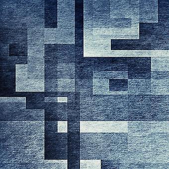 Bedruckter Teppich Der Ton der blauen mehrfarbig in Polyester, Baumwolle, L120xP180 cm