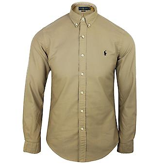 Ralph lauren men's surrey tan garment dyed oxford shirt