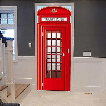 Red Telephone Police Box Mural Self-adhesive Vinyl Decal Home Decor Door Poster