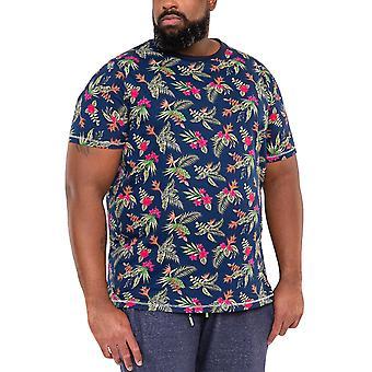 Duke D555 Mens Fraser Big Tall King Storlek Hawaiian T-Shirt Tee Top - Navy