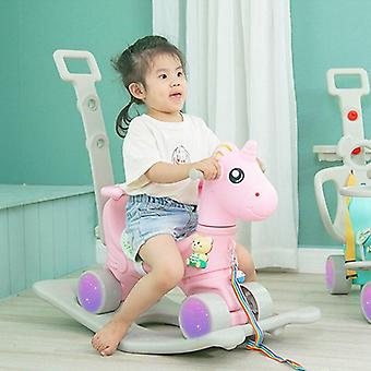 Children Cute Unicorn Flashing Wheel Pram Baby Music Multi-function Rocking