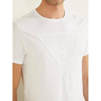 T-shirt con logo ricamato GUESS - Bianco puro