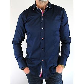 Navy With Floral Trim Shirt