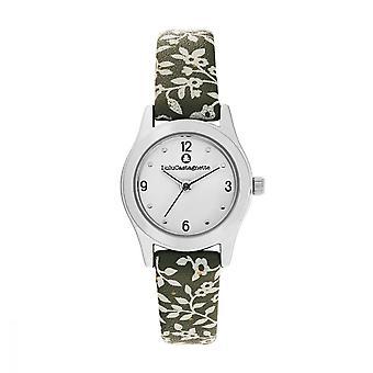 LuluCastagnette Girl Watch - white dial - green bracelet with patterns