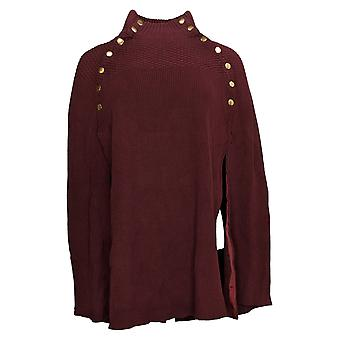 G.I.L.I. Women's Sweater Cape with Button Detail Red A368018