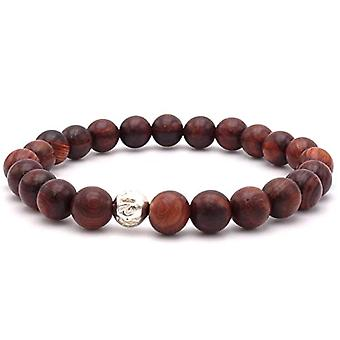 Benava, women's bracelet in 8 mm sandalwood, wooden pearls and pearls with mantra, brown, red, silver, 17 cm