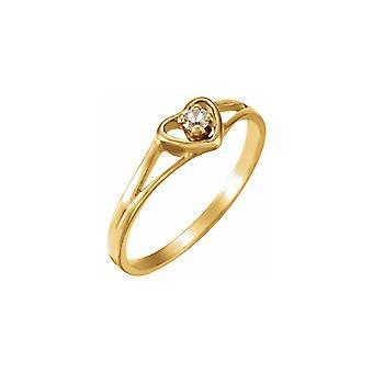 14k Gult Guld Simulerat Vit Kubisk Zirconia 3 Polerad Ungdom Kärlek Hjärta Kubisk Zirconia Ring Storlek 3