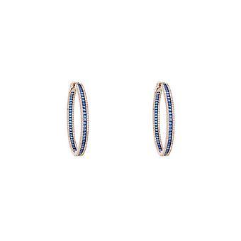 Baguette Large Hoop Pendientes Grandes Rosegold Sapphire Blue