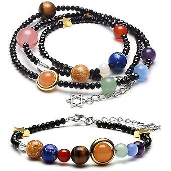 Schmuck Set Glas Perlen Armband + Halskette Energietherapie Planet Asteroid Sonnensystem Stein