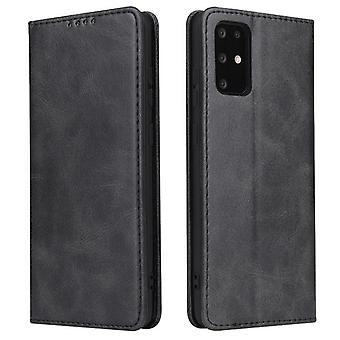 Flip folio leather case for samsung a12 5g black pns-34