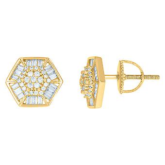 925 Sterling Silver Yellow tone Mens Baguette Cubic zirconia Octagon Fashion Stud Earrings Jewelry Gifts for Men