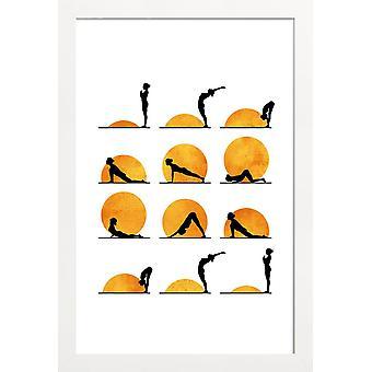 JUNIQE Print -  Yoga Sun - Yoga Poster in Gelb & Orange
