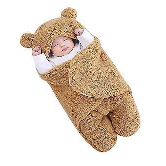 6M brown cute bear organic newborn swaddle wrap x3701