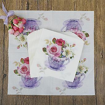 Floral Flower Theme Paper Napkins Decoration Festive Party Supplies