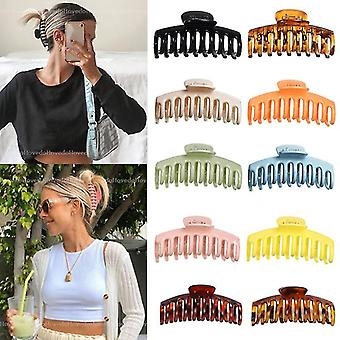 2 PCS Solid Large Hair Claws Elegant Hairpins Barrette Crab Hair Clips Headwear for Women Girls Hair
