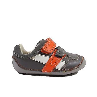 Clarks Tiny Zakk Grå Combi Läder Childrens Pre Walker Skor