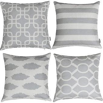 ® Grau Kissenbezüge Kissenhüllen in Baumwolle und Leinen mit Geometrischen Mustern Dekoration
